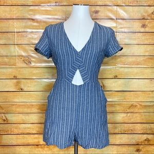 Lucca Chambray Striped Midriff Short Romper Medium